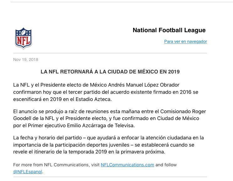 Videgaray La Nfl Volvera A Mexico En 2019 Gracias A Amlo